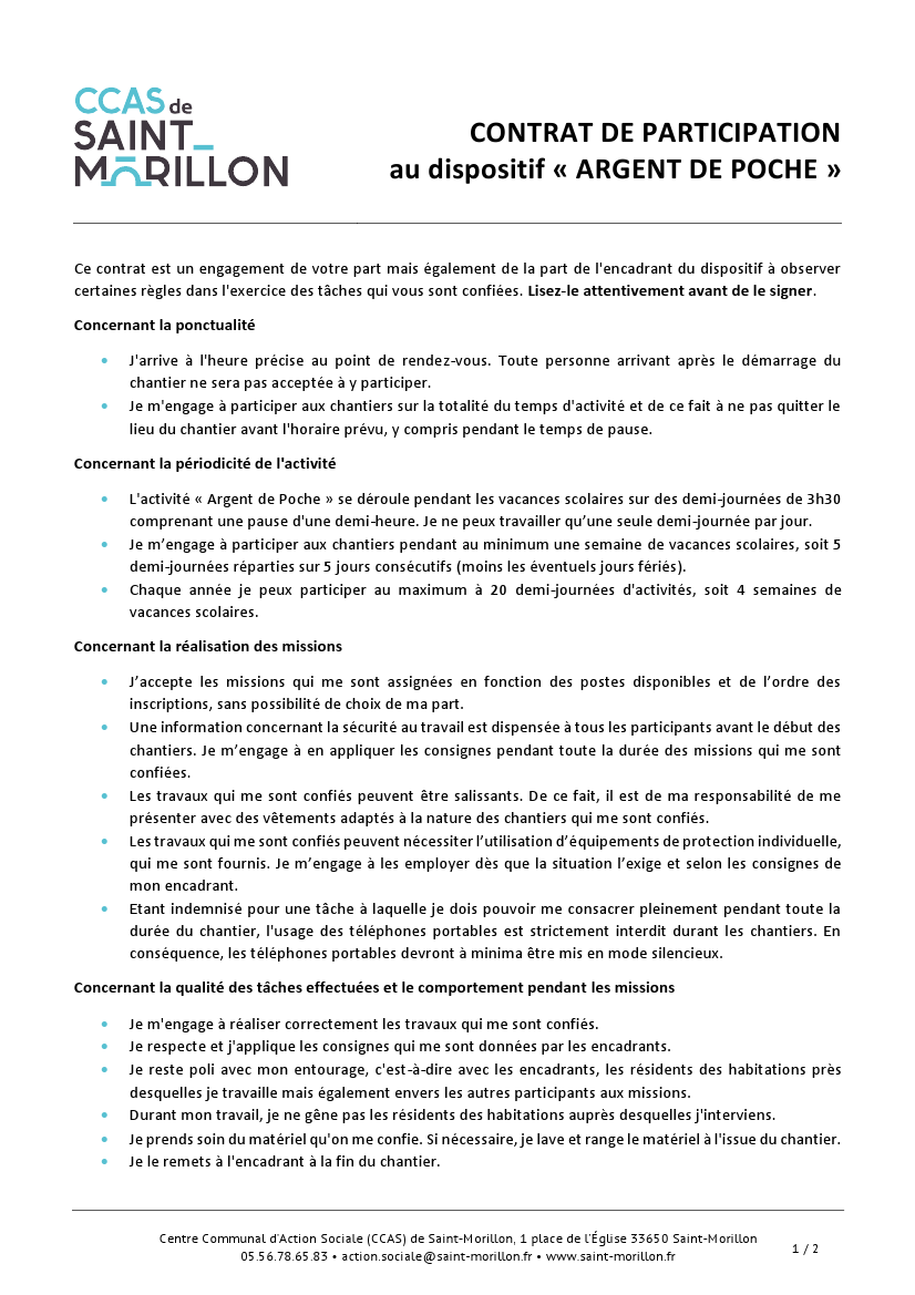 1 Dispositif Argent de Poche Contrat de participation