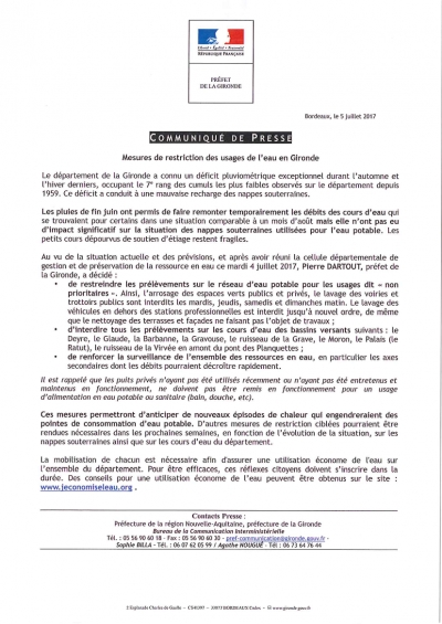 Mesures de restriction de l'usage de l'eau en Gironde Communiqué de Presse